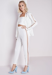 Missguided Mesh Panel Cigarette Trousers White White