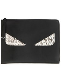 Fendi Monster Snakeskin And Leather Clutch Black
