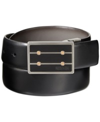 Kenneth Cole Reaction Matte Black Plaque Reversible Belt Black Grey