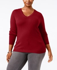 Charter Club Plus Size Cashmere V Neck Sweater Only At Macy's New Red Amore
