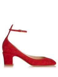 Valentino Tango Suede Pumps Red