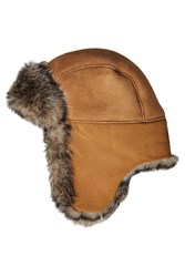 Ugg Australia Leather Trapper Cap With Shearling Lining