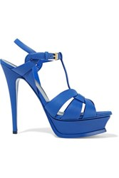 Saint Laurent Classic Tribute 105 Textued Leather Sandals Royal Blue