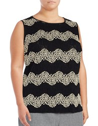 Nipon Boutique Plus Sleeveless Lace Top Champagne