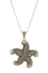 Savvy Cie Sterling Silver Pave Marcasite Starfish Pendant Necklace Metallic