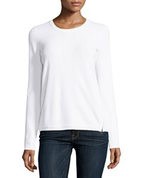 Vince Side Zip Crewneck Sweater Optic White
