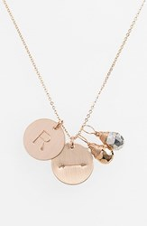 Women's Nashelle Pyrite Initial And Arrow 14K Gold Fill Disc Necklace Gold Pyrite Silver Pyrite R