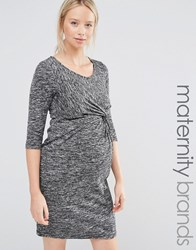Mama Licious Mamalicious Ruched Front 3 4 Sleeve Jersey Marl Dress Grey