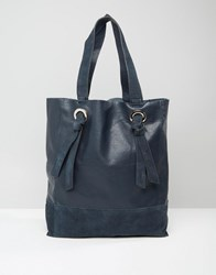 Warehouse Eyelet Leather Shopper Navy