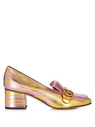 Gucci Marmont Fringed Bi Colour Leather Loafers Pink Gold