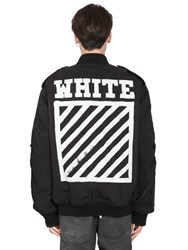 Off White Stripes Printed Canvas Bomber Jacket