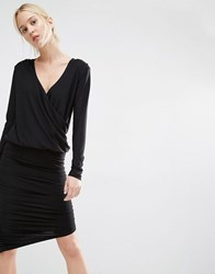 Gestuz Ruched Bodycon Dress With Wrap Front Black