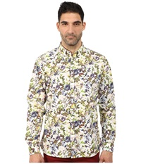 Lindbergh Flower Printed Long Sleeve Woven Bright Green Men's Clothing