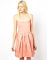 See By Chloe Strapless Bustier Dress In Crushed Cotton Pink