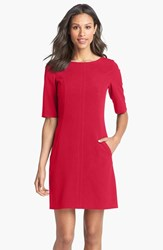 Tahari Women's Seamed A Line Dress Red
