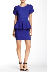 Vertigo Short Sleeve Peplum Dress Blue