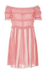 Red Valentino Off The Shoulder Ruffled Short Dress Pink