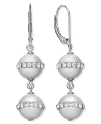 Macy's Sterling Silver Cultured Freshwater Pearl 10Mm And Crystal Halo Earrings