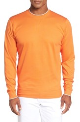 Bobby Jones Men's 'Walker' Tipped Pima Cotton Long Sleeve T Shirt Orange Tango
