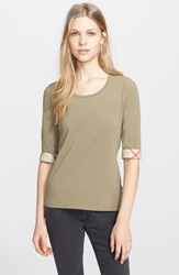 Burberry Check Trim Tee Pale Khaki Green