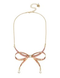 Betsey Johnson Crystal Bow Necklace Pink