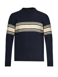 Saint Laurent Striped Crew Neck Sweater Navy Multi