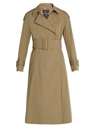Muveil Pleated Back Cotton Blend Trench Coat Beige