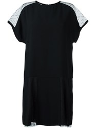 Red Valentino Sheer Shoulder Shift Dress Black