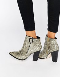 Little Mistress Harlow Glitter Heeled Ankle Boots Gold