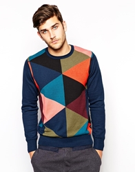 Paul Smith Jeans Jumper With Intarsia Argyle Blue