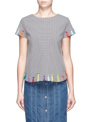 Mira Mikati Yarn Embroidered Houndstooth Top Multi Colour