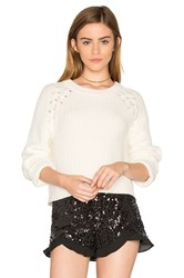 1.State Lace Up Shoulder Sweater Ivory