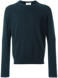 Christophe Lemaire Crew Neck Cardigan Jumper Blue