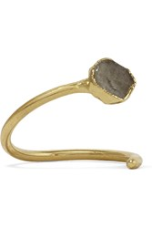 Dara Ettinger Gold Tone Labradorite Ring Metallic