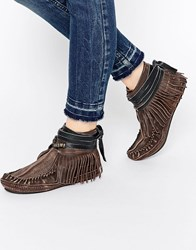 Free People Moccasin Eastwood Flat Ankle Boots Brown