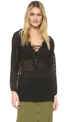 Haute Hippie Lace Up Blouse Black