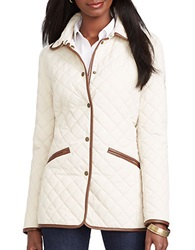 Lauren Ralph Lauren Quilted Faux Leather Trim Blazer White