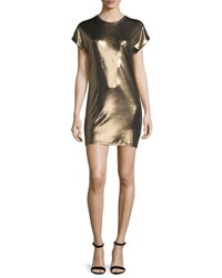 Halston Short Sleeve Foil Jersey Mini Dress Bronze