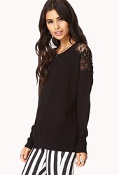 Forever 21 Romantic Crochet Lace Sweatshirt Black