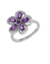 Lord And Taylor Amethyst Diamond And Sterling Silver Flower Ring Purple