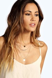 Boohoo Bead And Coin Layered Necklace Gold