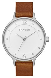 Skagen 'Anita' Leather Strap Watch 30Mm Brown Silver