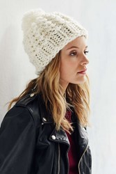 Urban Outfitters Wooly Hand Knit Pompom Beanie Ivory