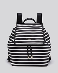 Kate Spade New York Backpack Classic Nylon Striped Molly Black Clotted Cream