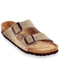 Birkenstock Arizona Soft Footbed Two Band Suede Sandals Men's Shoes Taupe