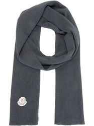 Moncler Ribbed Knit Scarf Black