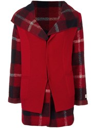 Woolrich Checked Coat Red