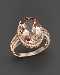 Bloomingdale's Morganite And Diamond Oval Statement Ring In 14K Rose Gold Pink