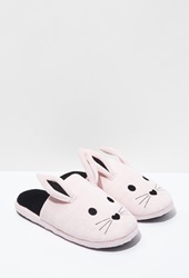 Forever 21 Bunny Ear Slippers Pink Black