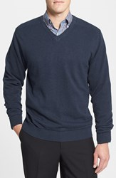 Men's Cutter And Buck 'Broadview' Cotton V Neck Sweater Navy Heather